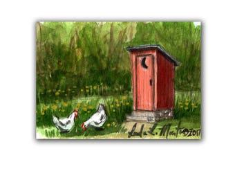 Fun Red Out House Farm Baby Nursery llmartin Original ACEO Father  Grandma Miniature Watercolor Chickens Free Shipping USA Child Children