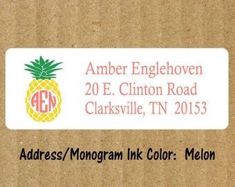 Pineapple Address Labels, 90 Labels, Pineapple Monogram, Pineapple Return Address Labels, Monogram Return Address Labels, Pineapple