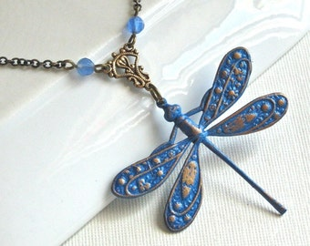 Blue Dragonfly Necklace - Dragonfly Jewelry, Hand painted, Nature Inspired Jewelry