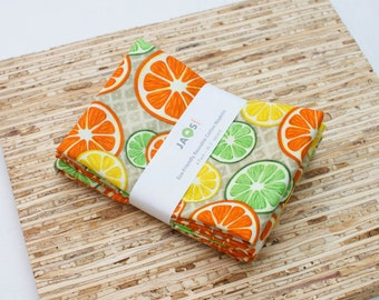 Large Cloth Napkins - Set of 4 - (N4308) - Citrus Fruit Modern Reusable Fabric Napkins