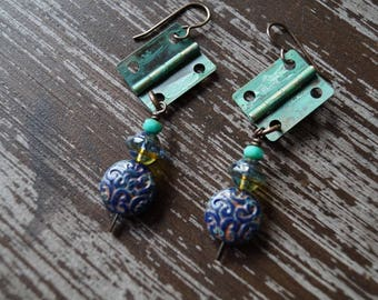 Unlisted - Rustic Earrings - Navy Blue and Turquoise - Steampunk - Boho Jewelry - Dangle Earrings - Bead Soup Jewelry