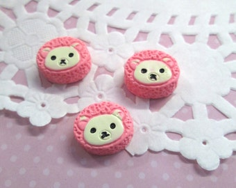 Decoden Pink Teddy Bear Cabochons, super cute cabs, #605A