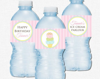 Ice Cream Water Bottle Labels, Ice Cream Shoppe Birthday Party Decorations, Ice Cream Bottle Wraps, Personalized