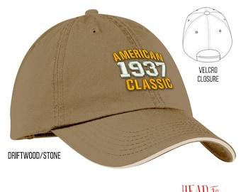 80th Birthday, 1937 Birthday, 80th Birthday Gift, American Classic Embroidered Hat, 80th Birthday Idea, 80 Years Old, 80 Birthday Gift