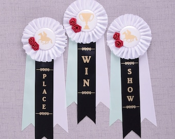 Kentucky Derby Party Rosette Ribbons, Kentucky Derby Decorations, Derby Shower Decorations, Derby Horse Ribbons, Custom Rosette Award