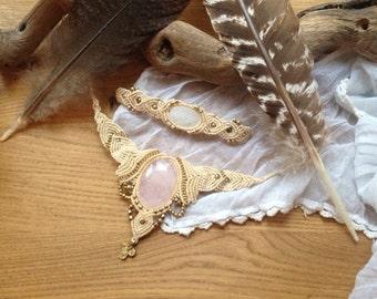 Angel wisdom beautyful hippie wedding combination necklace snd bracelet Beautyful Tribal Nomad MACRAME natural jewelry quarz abs rosequarz