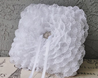 Pure White Lace Flower And Rhinestone Ring Bearer Pillow