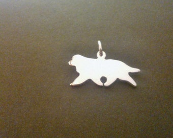 Newfoundland dog Silhouette in flowing trot Sterling Silver pendant