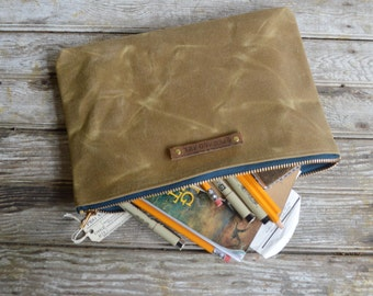 Cosmetic Case, Large Waxed Canvas Pouch, Tumbleweed, Makeup Bag, Canvas Clutch, Waxed Canvas Bag, Gadgets Bag, Back to School, Peg and Awl