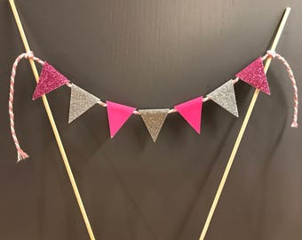 Cake topper - Bunting - birthday party - various colours available - Gold, Silver, Pink, Blue, White, Black, Red, Green