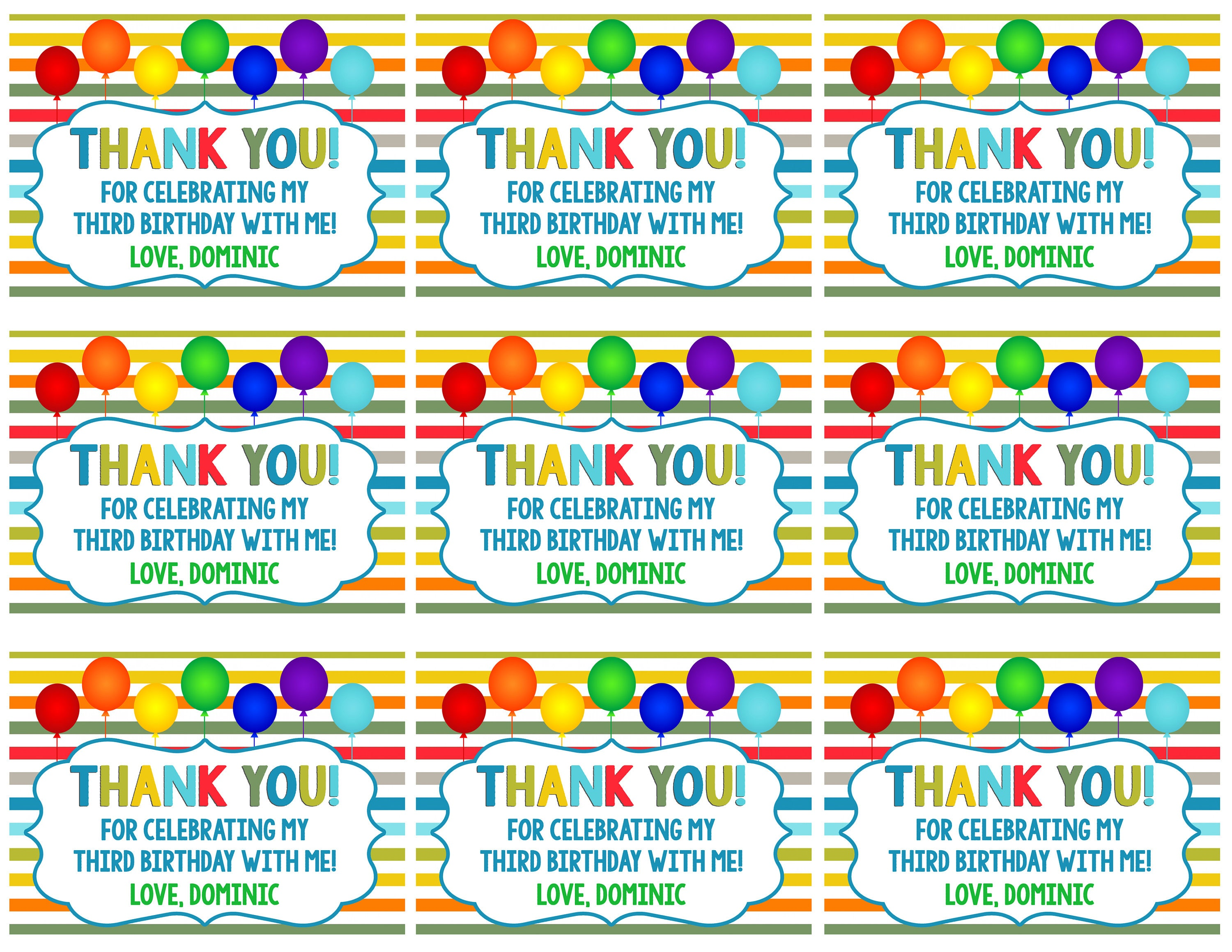 Balloon Tag: Colorful Thank You Tags, Colorful Gift Tags, Thank You