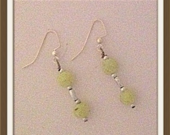 Handmade MWL medium dangle sparkle yellow and silver earrings. 0013