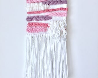 Pink, Purple and White Woven Wall Hanging
