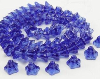 10 pearls flowers morning glories glass blue dark 6 x 9mm