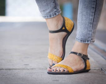 Yellow Leather Sandals, Printed Leather Sandals, Women Summer Shoes, Leather Flats, Free Shipping