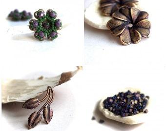 Purple Patina Bead Charm Set - Handmade Beadwoven Flowers, Flower Pendant, Leaf Charm, Triangle Seed Beads
