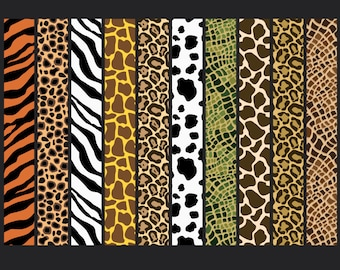 Wild Jungle Animal Prints Digital Paper Pack - 10 digital papers