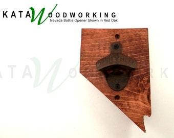Nevada Wood Cut-out Bottle Opener - Wall Mount - Handmade