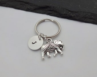 Elephant Charm Keyring, Initial Elephant Keyring, Hand Stamped Keyring, Elephant Keyring, Animal keyring, Keychain, Personalised, Gift