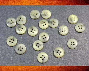 Buttons - 18 Grey and Cream White Matte Marbled Small Round Buttons for sewing and crafts. BUT-044