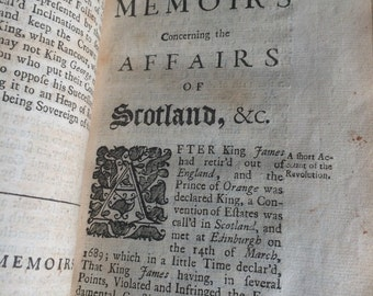 1707 copy of Memoirs Concerning the Affairs of Scotland, From Queen Annes's Acceffion to the Throne.