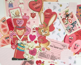 Vintage Valentine's  Ephemera pack- VDay Mix #4- clippings, game cards, stickers, collage, scrapbook, journalling, smashbook, junk journal