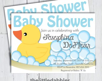Printable Rubber Ducky Baby Shower Invitation -- Yellow Rubber Duck Bathtub Bubbles Baby Blue Shower Invite -- PNG and JPG