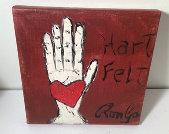 "RonGo Art -Outsider Art Folk Art  painting  10"" by 10""  ""Hart felt"""