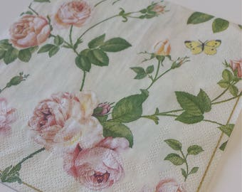 Decoupage Paper Napkins, Floral Napkins, Lunch Napkin, Rose, Collage, Craft, Scrapbooking, Paper Craft, Serviette, Decoupage Tissue