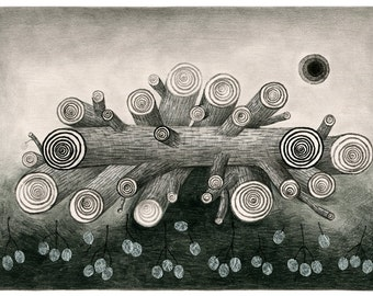 Original mixed media drawing -  - Log and white fruit