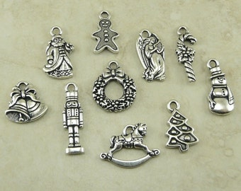 TierraCast Christmas Holiday Charm Mix Pack - Santa Angel Bells Candy Cane