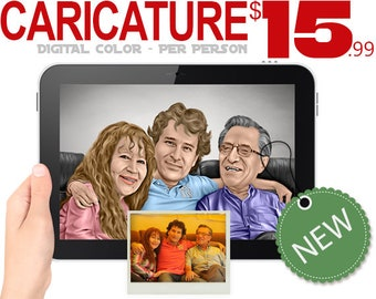 Digitally Drawn Caricature, Custom Caricatures, Family Digital Caricature, Wedding Caricature from you Photos