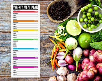 NEW! Weekly Meal Plan Notepad, The Grocery List companion (large magnetic refrigerator note pad, cooking planning, organized weekdays)