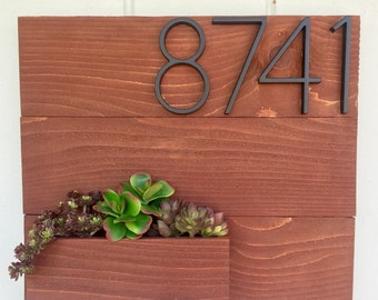 Cherry Stain Cedar Home Address Planter with Faux Succulents
