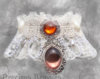 Ophelia Choker ~ Victorian Necklace / White Lace Pearl Swarovski / Gothic Romantic Lolita Rococo / Fantasy Cosplay Wedding Costume