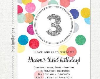 rainbow birthday invitation for girl or boy, rainbow 3rd birthday party invitation confetti silver glitter, printable digital file