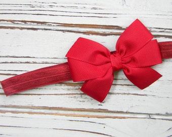 Cranberry Bow Headband - Newborn Bow Headband - Cranberry Red Bow Headband