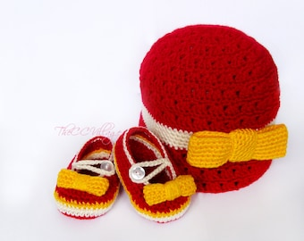 Red crochet baby girl shoes and hat set, Crochet Baby Shoes and hat with yellow bow