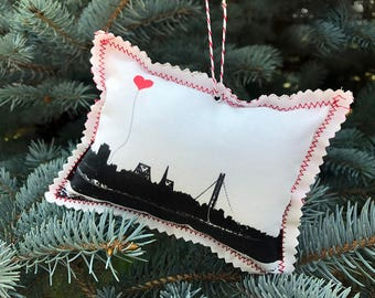 San Francisco Bay Bridge Fabric Ornament