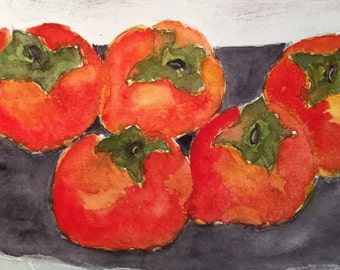 Persimmons Orignial Watercolor, Fruit Watercolor, Persimmons Painting, Persimmons In Watercolor, Persimmons In Art and Collectibles