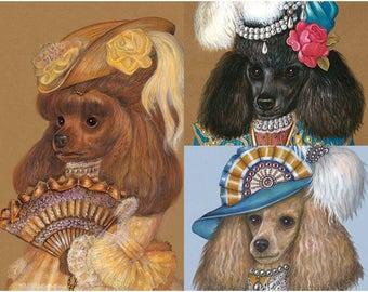 Poodle Girlfriends - 3 Art Prints - Brown Poodle, Black Poodle, Apricot Poodle - Funny Dog Portraits by Maria Pishvanova