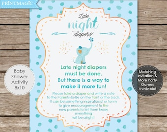 Baby Elephant Late Night Diapers Sign - Instant Download - Boy Baby Shower Game - Elephant Baby Shower - Late Night Diapers Game