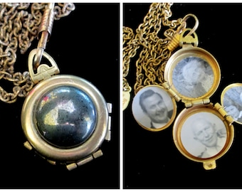 Vintage Pyrite Four Picture Locket - Fool's Gold
