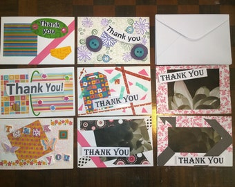 8 Thank you Cards with envelopes handmade