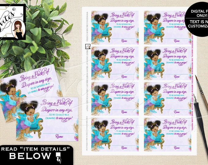 "Diaper raffle tickets, purple turquoise gold diaper tickets ethnic baby girl, raffle ticket games. PRINTABLE 3.5x2.5"" 8/Sheet. #TIAAPC001"