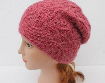 Hand Knit Alpaca Hat. Hand Knit Woman Hat. Knit Alpaca Red Hat. Slouchy Winter Hat. Knit Cable Hat.