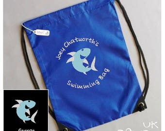 Embroidered Drawstring Bag - Personalised Sharky. Perfect for swimming, wellies,  toys, nursery, day trips, changing bag and anytime bag!