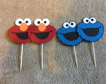 24 Sesame Street Elmo or Cookie Monster cupcake toppers. Set of 24. Great for Birthday parties. Free Shipping