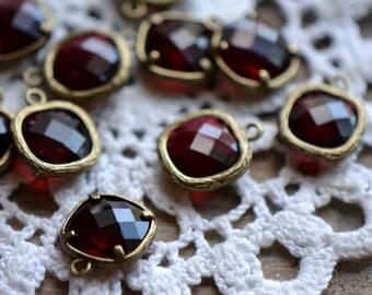 4 - Square Jewel Charms BURGUNDY Drop Gem Jewels Square 12mm Dark Red (AX023)