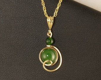 Jade Gemstone Gold Drop Pendant Necklace Gift For Her,Real Nephrite Jade Jewelry,Small Wire Wrapped Gold Pendant ChainNecklace,Jade Necklace
